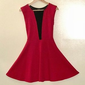 Red and Black Cutout Dress